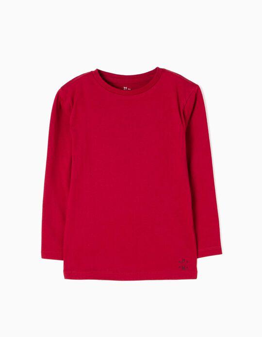 T-shirt Manga Comprida Vermelha Escura