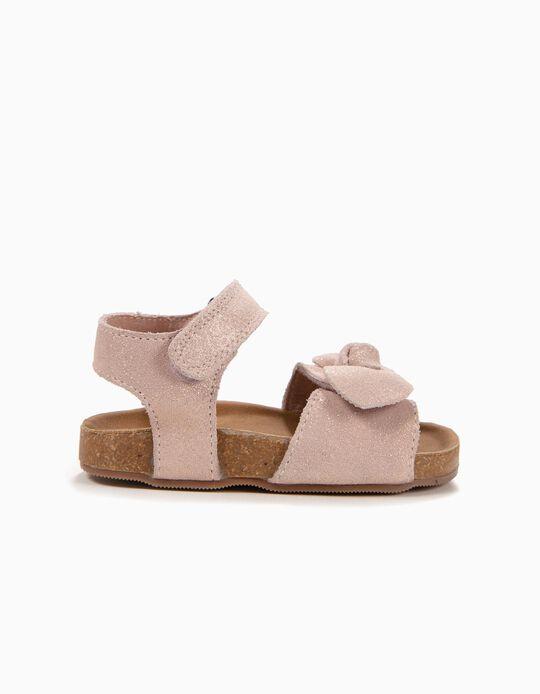 Sandálias de Camurça para Bebé Menina com Laço, Rosa