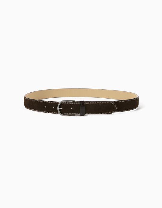 Suedette Belt for Men, Brown