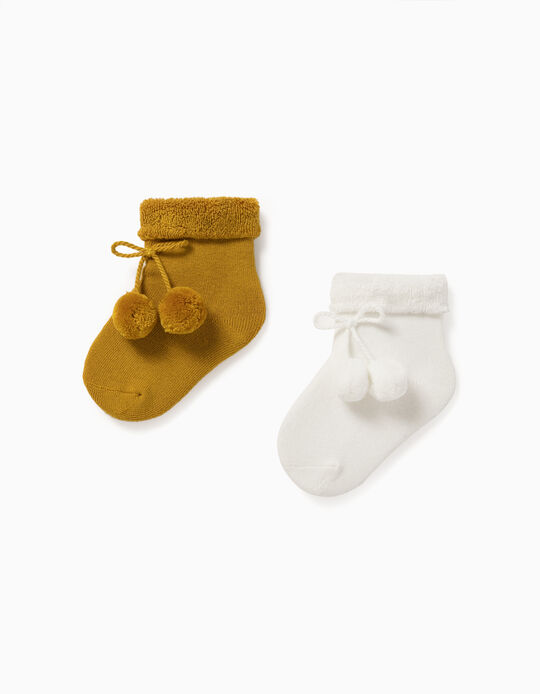 2 Pairs os Socks for Baby, White/Yellow