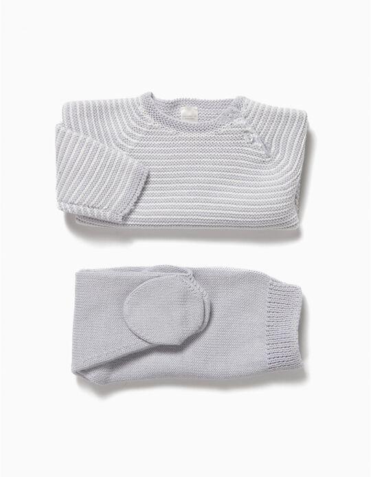 Knit Set for Newborn Babies, Grey