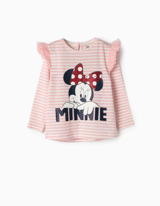 T-shirt para Bebé Menina 'Minnie', Rosa e Branco