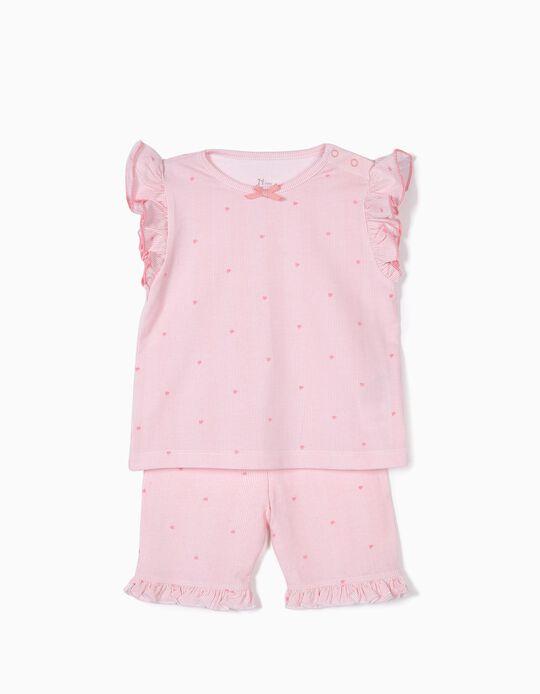 Pijama para Bebé Menina Riscas e Flores, Rosa