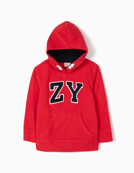 Polar Fleece Hoodie for Boys 'ZY', Red