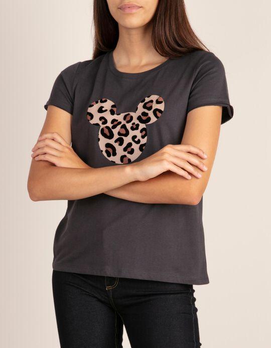 T-shirt lisa com estampado Minnie em leopardo