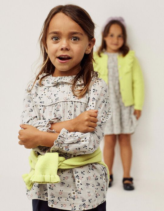 Floral Blouse for Girls, Grey