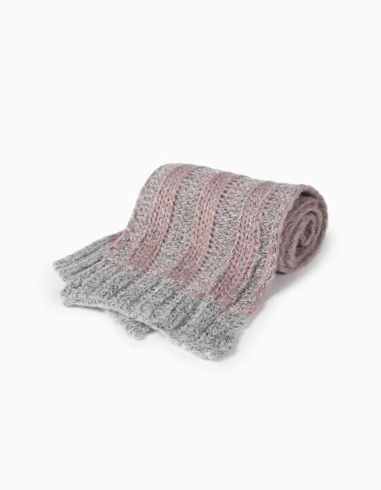knit Scarf for Girls, Grey/Pink