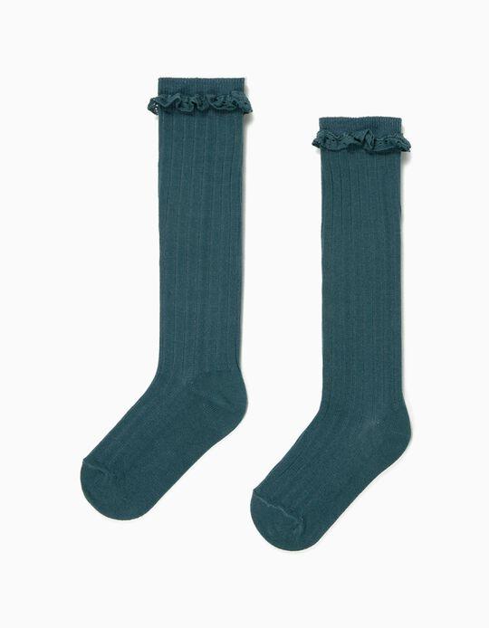 Rib Knit Knee High Socks for Girls, Dark Teal