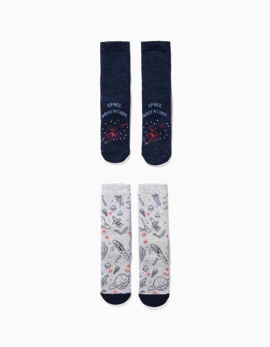 2 Meias Antiderrapantes para Menino 'Astronaut', Cinza/Azul Escuro