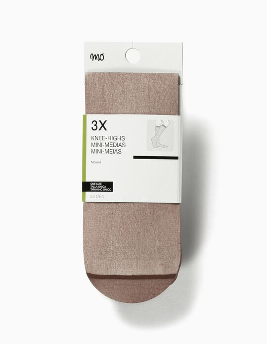 Pack of 3 Pairs of Opaque Knee Highs
