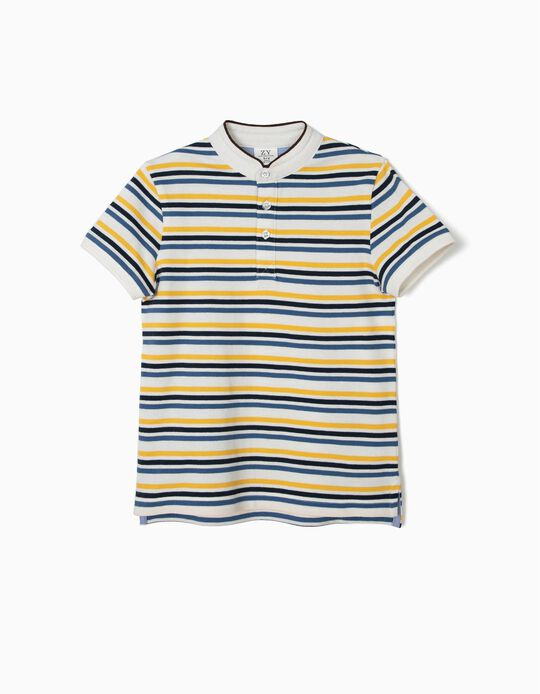 Striped Polo Shirt with Mandarin Collar for Boys, White and Blue