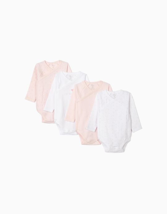 4 Bodysuits for Newborn Baby Girls, 'Stars', White/Pink