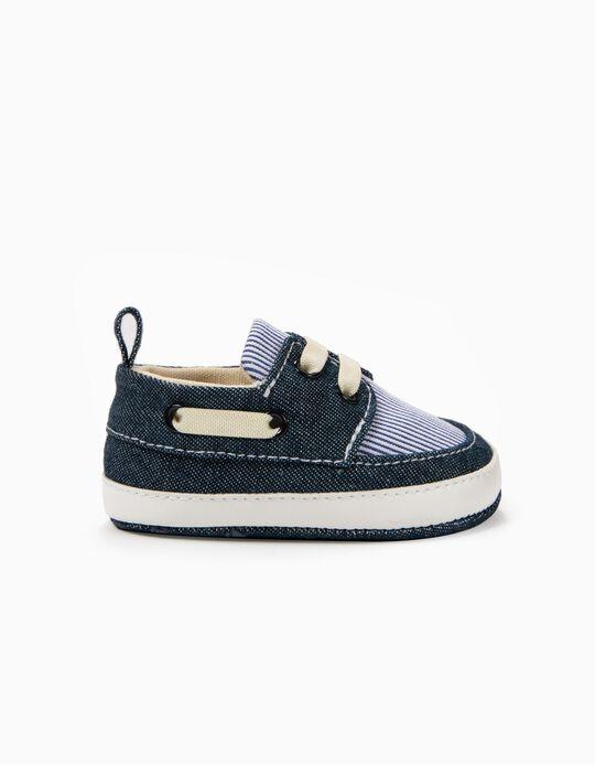 Sapatos Combinados para Recém-Nascido Riscas, Azul