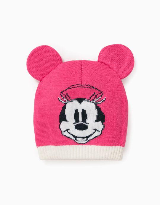 Knit Beanie for Baby Girls 'Minnie', Pink/White