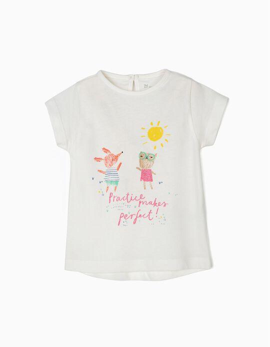 T-shirt para Bebé Menina 'Practice Makes Perfect', Branco