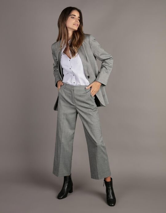 Cropped Herringbone Trousers