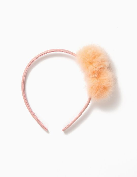 Shimmery Alice Band with Pompoms, Pink