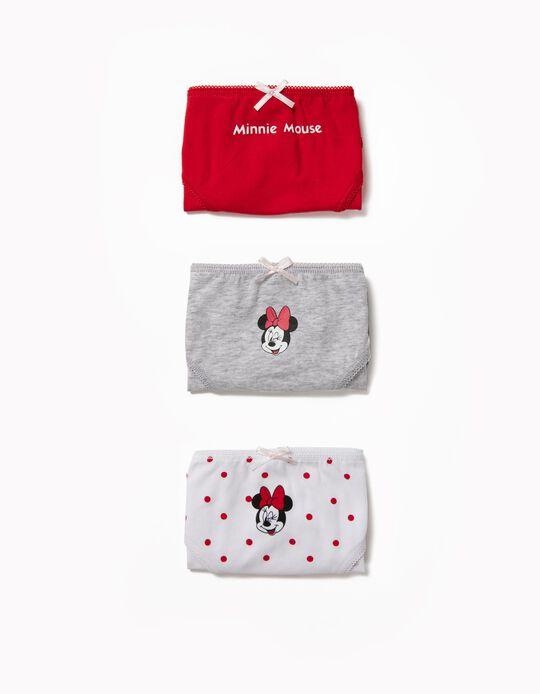 Pack 3 Cuecas para Menina 'Minnie', Vermelho e Branco