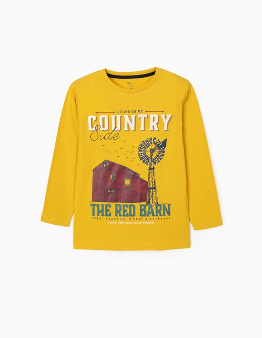 Long Sleeve T-Shirt for Boys 'Countryside', Yellow