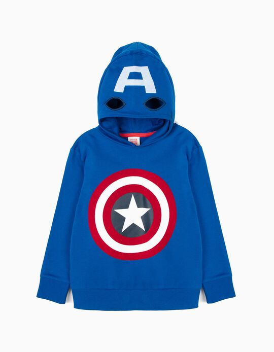 'Captain America' Sweatshirt Mask-Hood for Boys, Blue