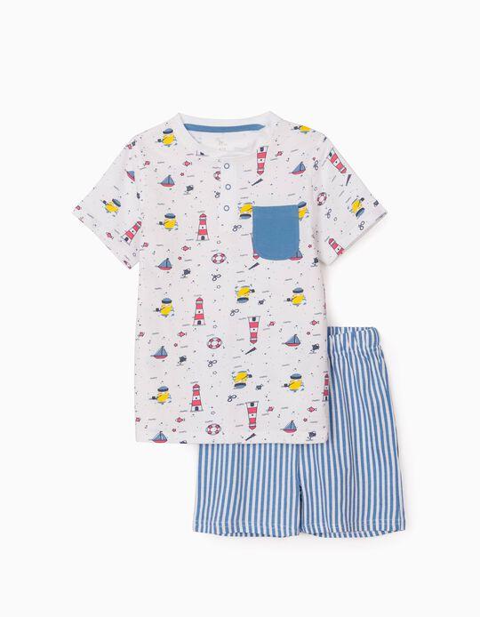 Pijama para Menino 'Sailor', Branco/Azul