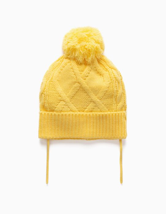 Knit Beanie with Pompom  for Babies, Yellow