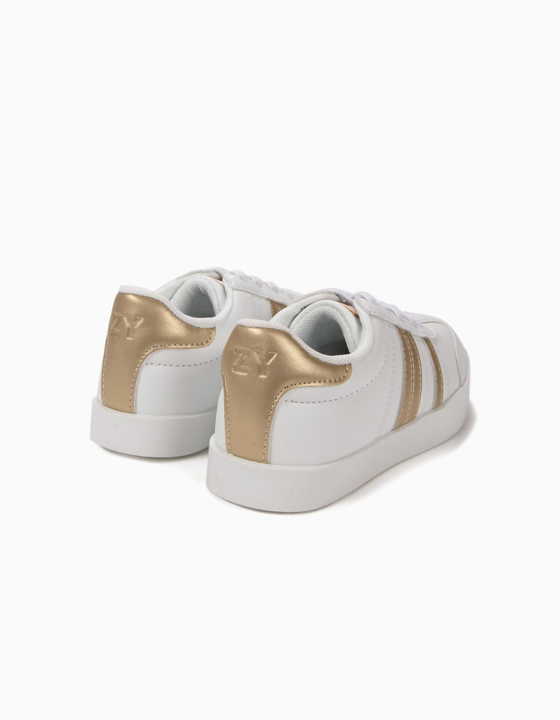 Sapatilhas para Criança 'ZY Retro' com Riscas, Branco e Dourado