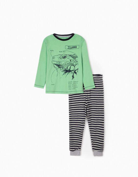 Pijama para Menino 'Iguana', Verde/Azul/Cinza