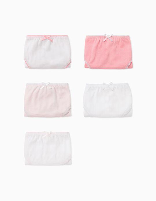 5 Briefs for Girls, Pink/White
