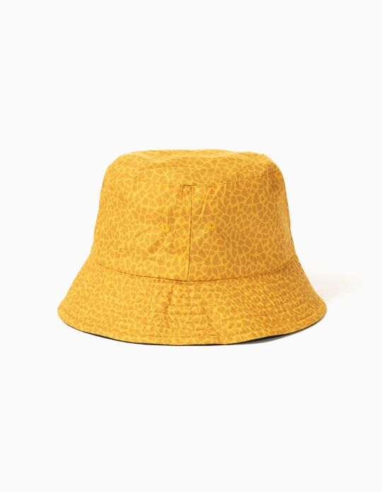 Chapéu Reversível para Criança, Azul Escuro/ Amarelo