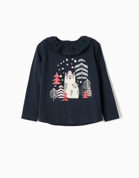 T-shirt Manga Comprida para Menina 'Christmas', Azul Escuro