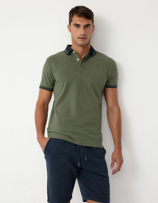 Short Sleeve PiquéKnit Polo Shirt for Men, Green