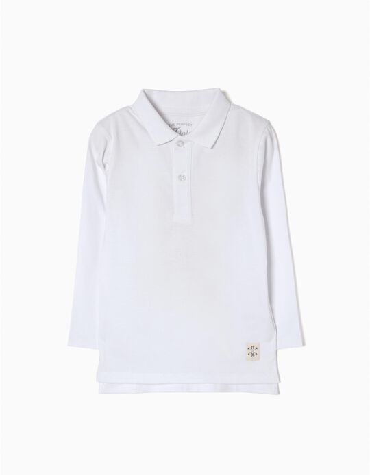 Long-Sleeved Polo Shirt for Boys, White