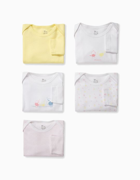 5 Bodysuits for Baby Girls 'Little Birds', Multicolour