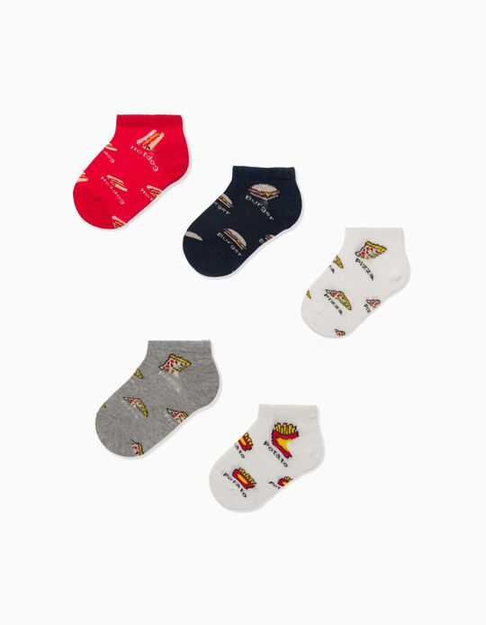 5 Pairs of Socks for Baby Boys 'Fast Food', Multicoloured