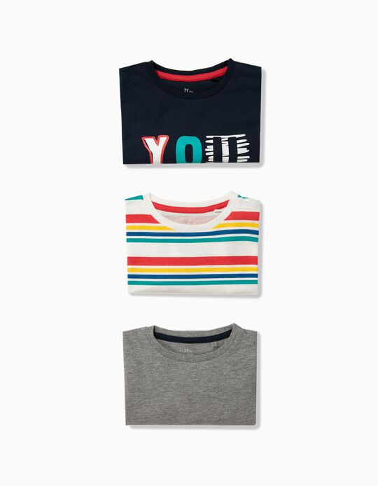 3 T-shirts Manga Comprida para Menino 'You Got This', Multicolor