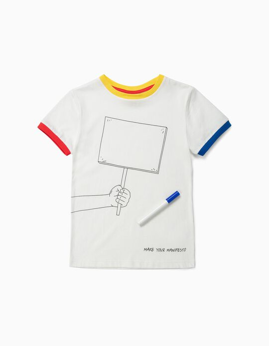 T-shirt para Menino 'Make Your Manifesto', Branco