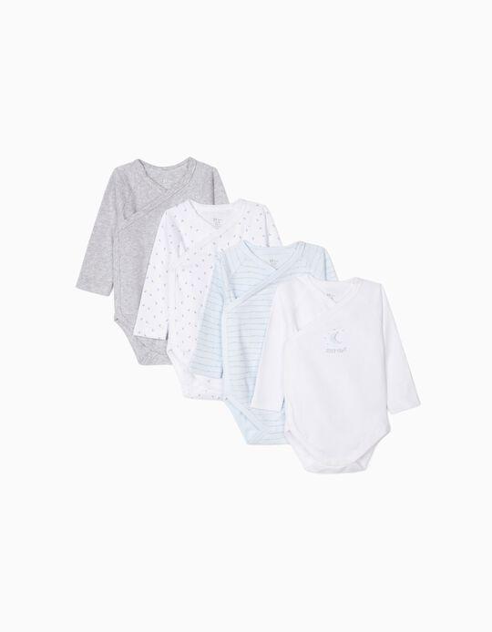 4 Bodies para Recém-Nascido 'Sleep Tight', Azul, Branco e Cinza