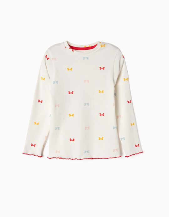 Ribbed Long-sleeve Top for Girls 'Bows', White