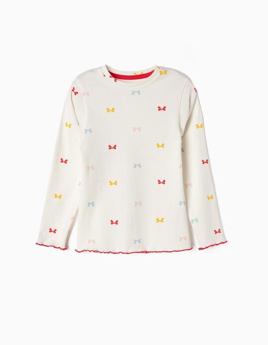 T-shirt Manga Comprida Canelada para Menina 'Laços', Branco