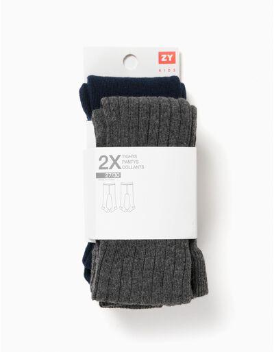 Pack 2 Collants de Malha Azuis e Cinzentos