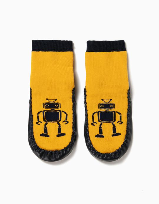 Non-Slip Slipper Socks for Boys 'Robots', Yellow and Blue