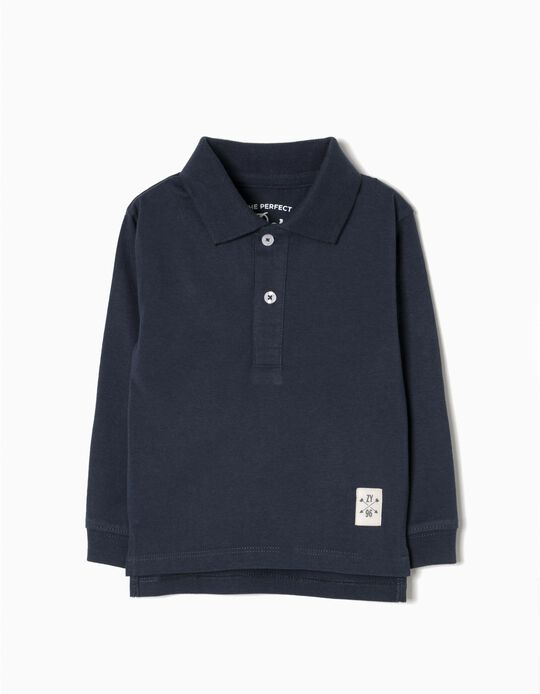 Long-Sleeved Polo Shirt for Baby Boys, Dark Blue