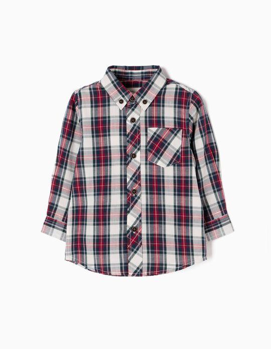 Camisa Xadrez com Bolso Azul e Vermelha
