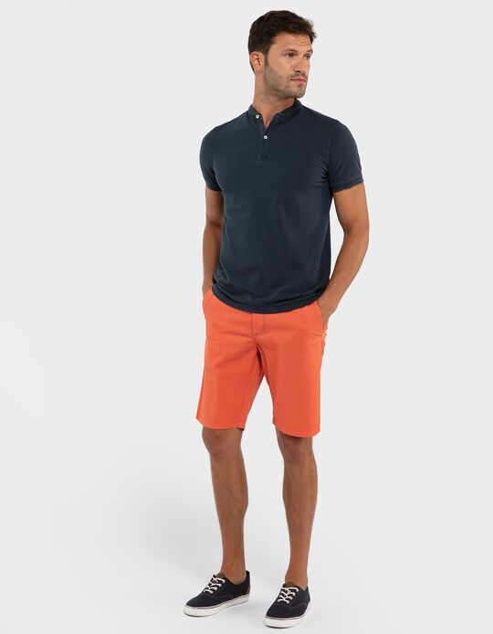 Chino-Type Shorts with Trim