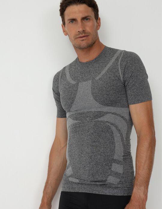 T-shirt Desportiva sem Costuras, Homem, Cinza