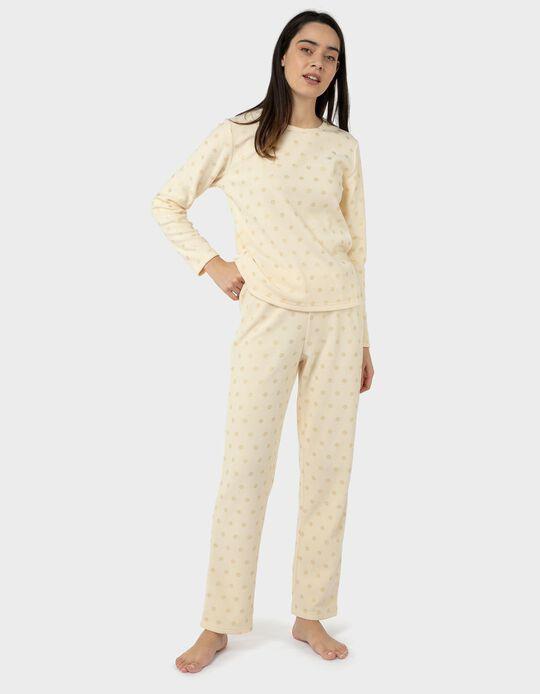Pijama Polar com Padrão Dourado