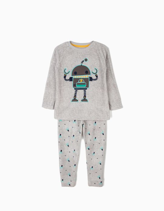 Polar Fleece Pyjamas for Boys 'Robots', Grey