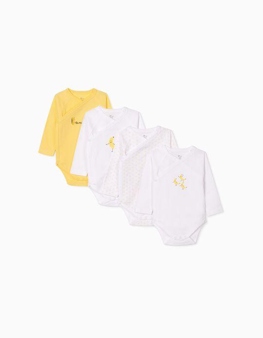 4 Bodysuits for Babies, 'Bananas', White/Yellow