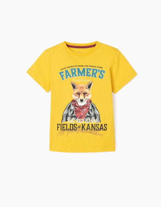 T-shirt for Boys, 'The Red Barn', Yellow